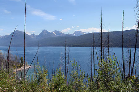 Lake McDonald and towering mountains