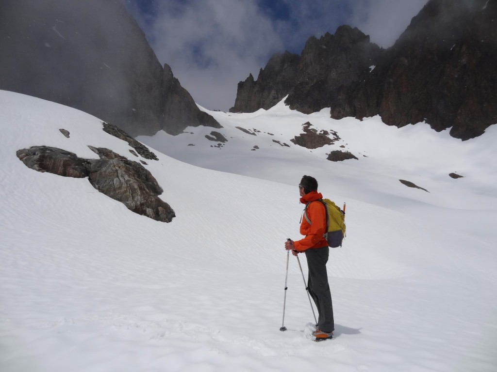 snowshoeing across the Crochues Traverse