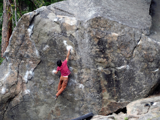 bouldering a big boulder