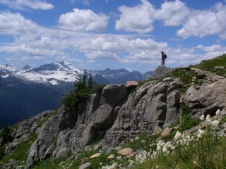 gazing into glacier national park while hiking the highline trail