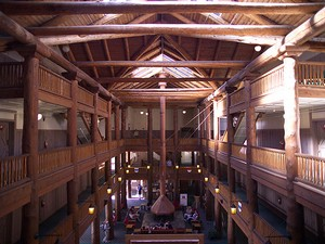 inside many glacier lodge