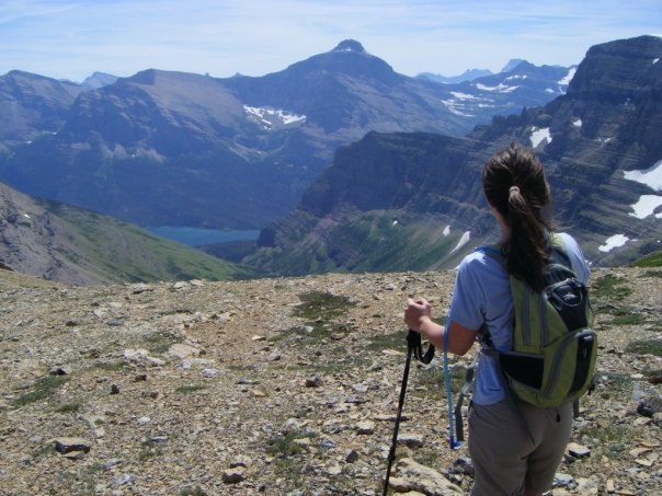 gazing at the mountains atop siyeh pass in glacier national park
