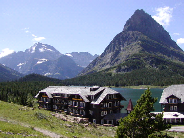 many glacier lodge and mountains