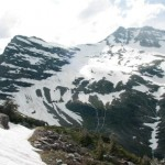 avalanche at gunsight pass in glacier national park