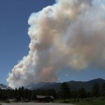 smoke rises from the Big Meadows fire in Rocky Mountain National Park